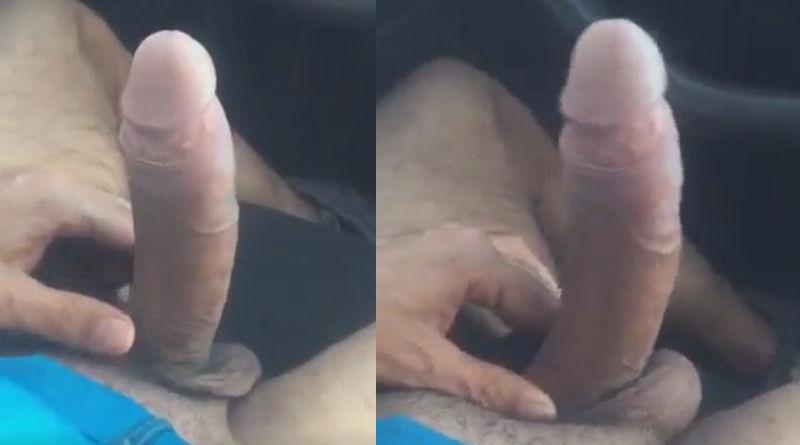 Pauzudo bate com a pica dura no volante