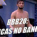 BBB20: Lucas Chumbo tomando banho de sunga