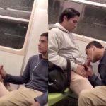 Pegando no pau e mamando estranho no metrô